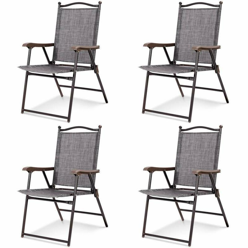Giantex Set Of 4 Folding Sling Back Chairs Indoor Outdoor Re