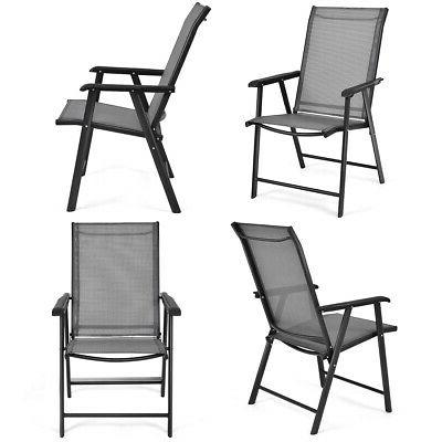 Set of 4 Outdoor Patio Folding Chairs Camping Deck Garden Po