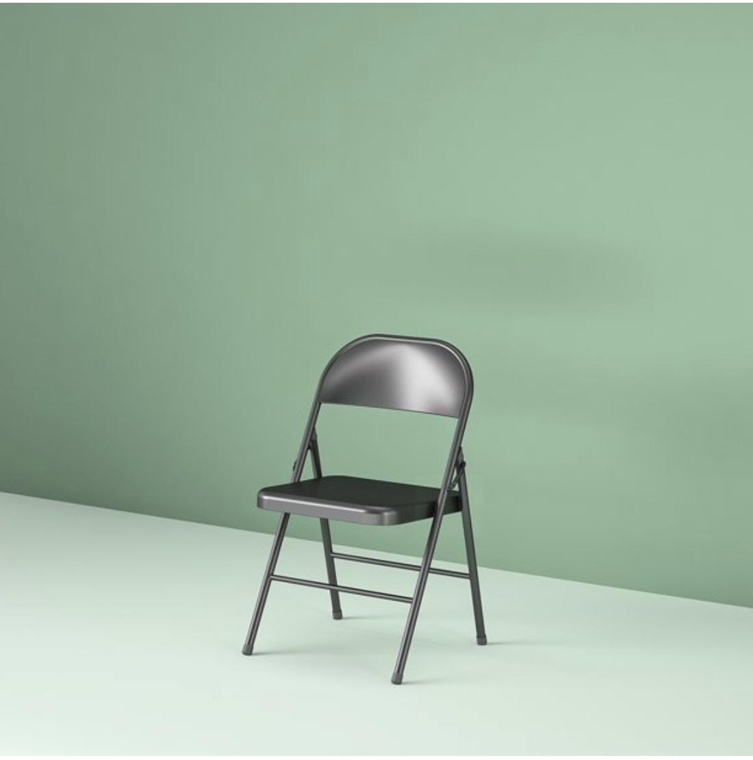 Steel Chair Black Rubber-Capped Feet