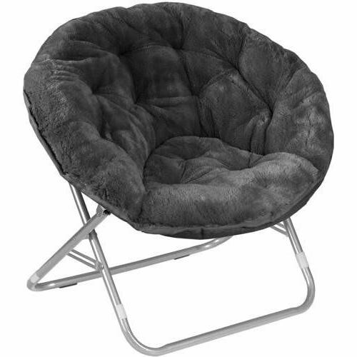 Faux-Fur Saucer Chair, Comfortable Portable Fuzzy Seating, M