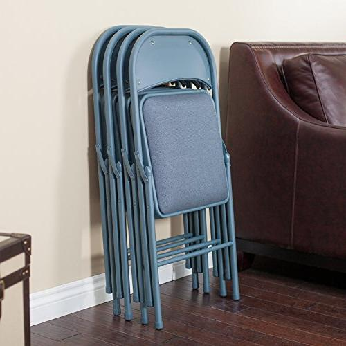 Meco Comfort Deluxe Double Padded Chair Back- Piece Card Table Set Cadet Blue