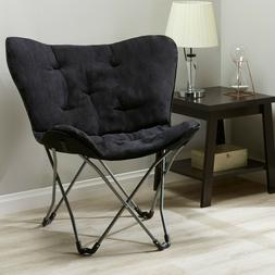 Large Folding Furry Butterfly Chair Stool Black Teal Grey Bl