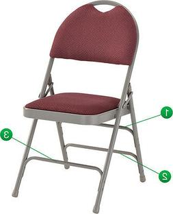 Metal Folding Chair Fabric Padded Triple Braced Easy-Carry H