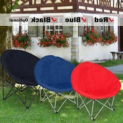 Microsuede Folding Padded Saucer Moon Chair Large Oversized