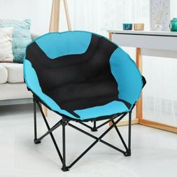 Moon Saucer Camping Folding Round Chair Padded Seat Heavy Du