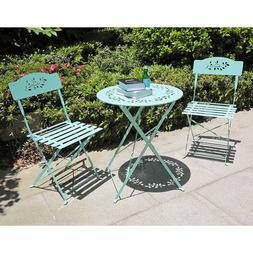 New 3-Piece Floral Bistro Set, Steel Folding Table and Chair