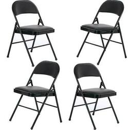 New 4 Pack Folding Chairs Fabric Upholstered Padded Seat Met