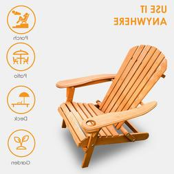 NEW Outdoor Wood Adirondack Chair Foldable Patio Lawn Deck G