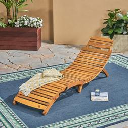 Outdoor Acacia Wood Chaise Lounge