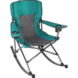 Outdoor Camping Rocking Chair with Cup Holder Green Folding