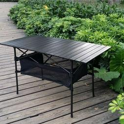 Outdoor folding table portable barbecue rack can lift picnic