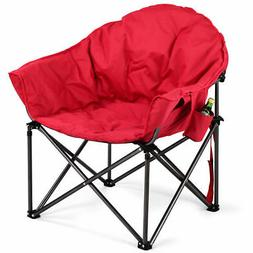 Oversized Saucer Moon Folding Camping Chair Padded Seat w/Cu