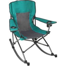 OZARK Folding Rocking Camp Chair w/ Cup Holders DURABLE Outd