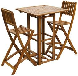 Patio Bistro Set Bar Table 2 High Stool Folding 30 Chair Out