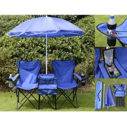 picnic double folding table chair with umbrella
