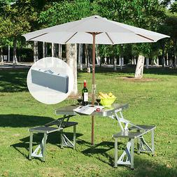 New Outdoor Portable Folding Aluminum Picnic Table 4 Seats C
