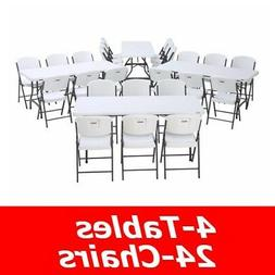 Lifetime 6 Ft Rectangular Tables And Chairs Set - White Gran