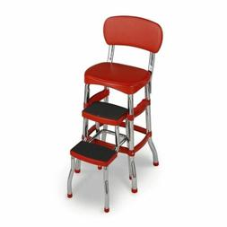 Red Folding Step Stool Kitchen Office Home Chair Back Retro