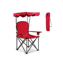 Red Portable Folding Beach Chair with Canopy & Cup Holder Ou