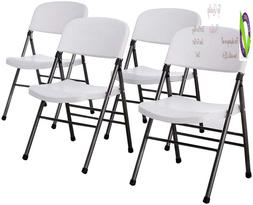Cosco Resin Folding Chair With Molded Seat And Back White Le