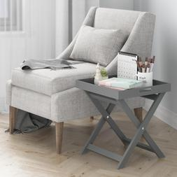 Rolland Grey Folding Tray Side Table