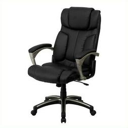 Scranton & Co High Back Folding Leather Office Chair in Blac