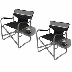 Set Of 2 Director's Chair Folding Side Table Outdoor Camping