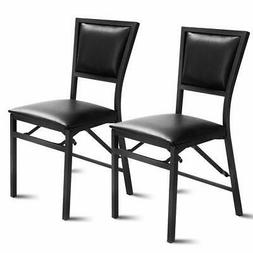 Giantex Set of 2 Metal Folding Chair Dining Chairs Home Rest