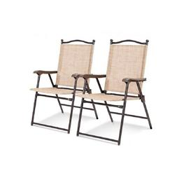 Set of 2 Sling Back Chairs Outdoor Folding Deck Camping Pati