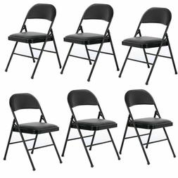 Set of 4/6 Folding Chairs Fabric Upholstered Padded Seat Met