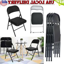 Set of 4 Folding Chairs Fabric Upholstered Padded Seat Metal