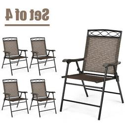 Set of 4 Patio Folding Chairs Sling Portable Dining Chair Se