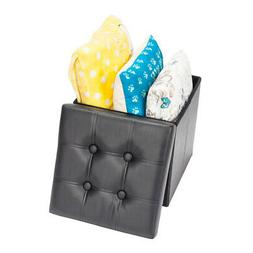 Square Leather Storage Footstool Cube Box Footrest Furniture