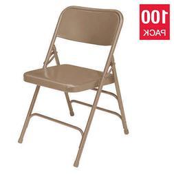National Public Seating Steel Folding Chairs, 100-Pack, Beig