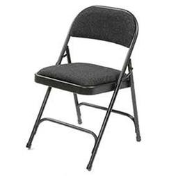Steel Frame Folding Chair, Padded Fabric Seat and Back, Blac