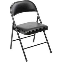 Steel Frame Folding Chair, Padded Vinyl Seat And Back, Black