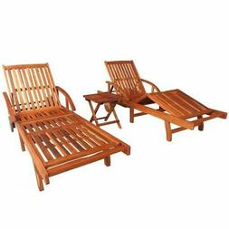 vidaXL Sunlounger and Table Set 3 Piece Solid Acacia Wood Br