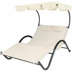 Sunnydaze Double Chaise Lounge with Canopy Shade and Headres