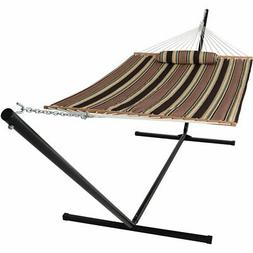 Sunnydaze Quilted Spreader Bar Hammock and Heavy-Duty Stand