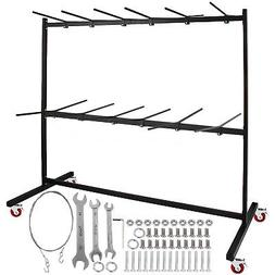 Two-Tier Folding Chair Rack Dolly Cart W/Locking Wheels Max