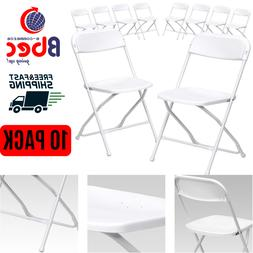 White Plastic Folding Chairs Premium 10 Pack Capacity 800 lb
