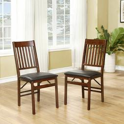 Mission Back Wood Folding Dining Chair Walnut Leather Up To