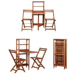 Wooden Bistro with 1 Storage Rack and 2 Folding Chairs Folda